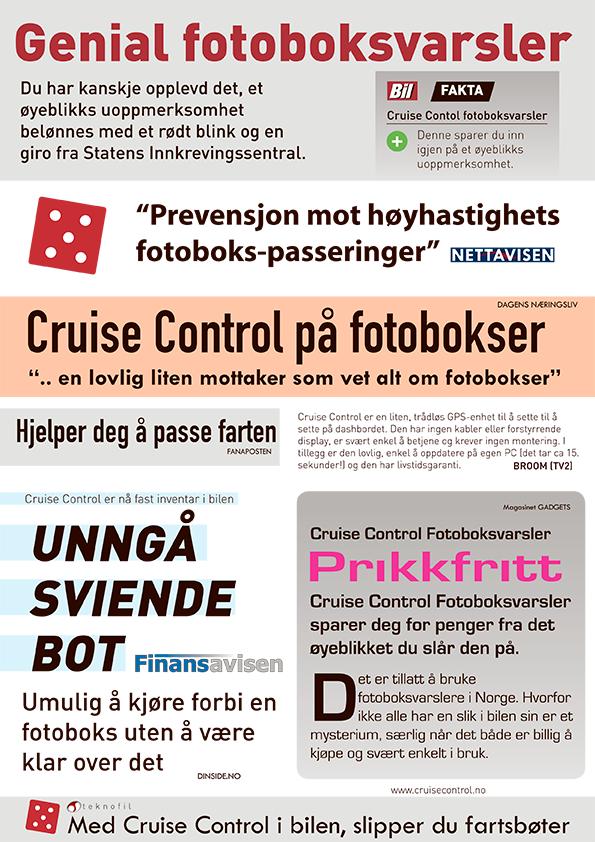 Presseomtaler av Cruise Control Fotoboksvarsler